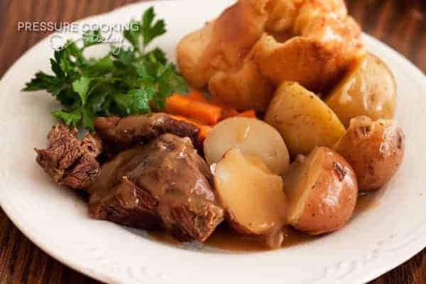 close up of Classic Pressure Cooker (Instant Pot) Pot Roast and Potatoes