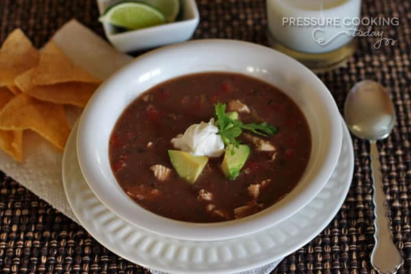 Picante-Chicken-and-Black-Bean-Soup in a white bowl