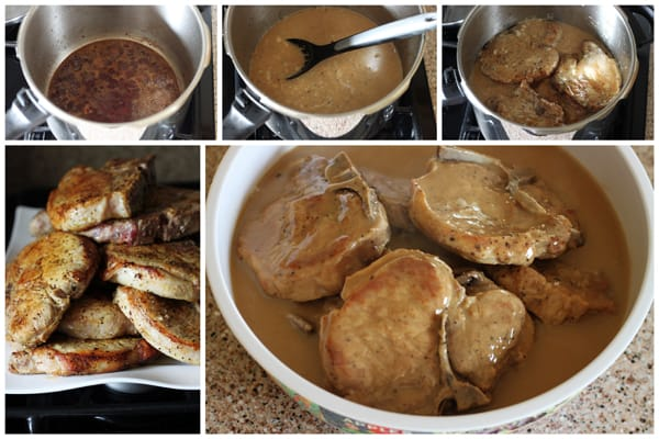 Collage of How to Cook Easy Pressure Cooker Pork Chops in Mushroom Gravy | PressureCookingToday.com