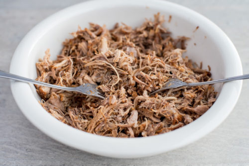 Instant Pot / Pressure Cooker Root Beer Pulled Pork shredded with two forks