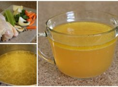 collage of Pressure Cooker (Instant Pot) Chicken Stock