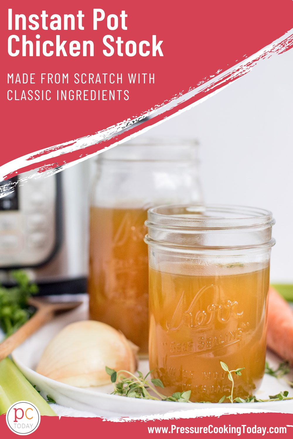 This easy Instant pot Homemade Chicken Stock is your secret ingredient to making flavorful soups and broths. via @PressureCook2da