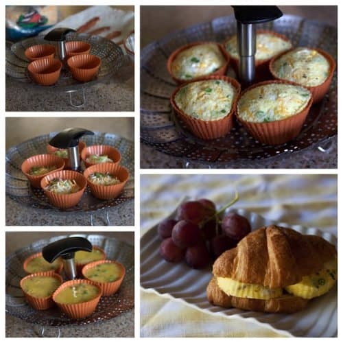 collage of pictures showing egg bites made in a silicone muffin cups
