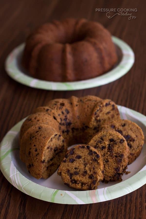 Pressure Cooker (Instant Pot) Pumpkin Chocolate Chip Bundt Cake