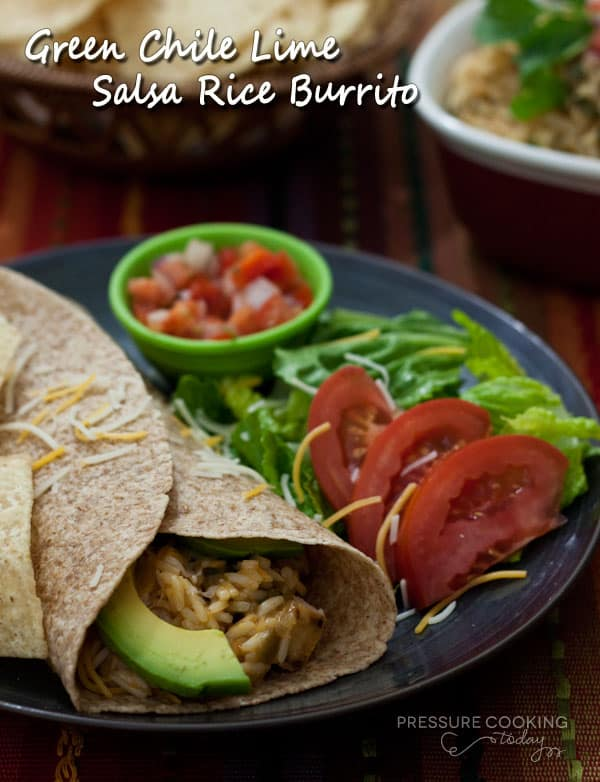 Green Chile Lime Salsa Rice Burrito | Pressure Cooking Today