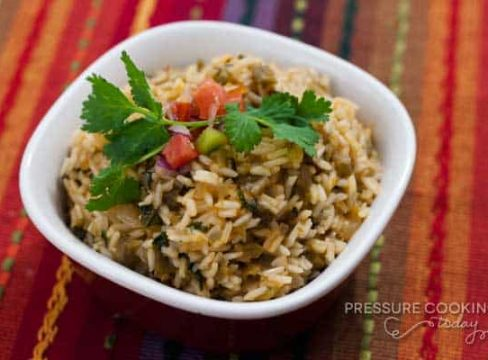 Pressure Cooker (Instant Pot) Green Chile Lime Salsa Rice in a white bowl