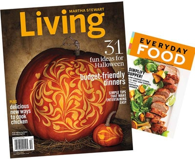 magazine covers of Martha Stewart Living and Everyday Food