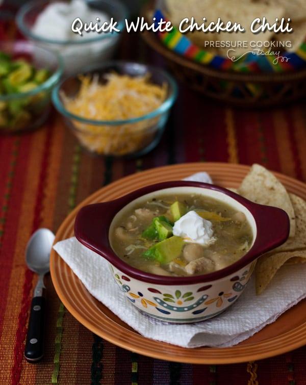 Quick Pressure Cooker (Instant Pot) White Chicken Chili in a decorative bowl