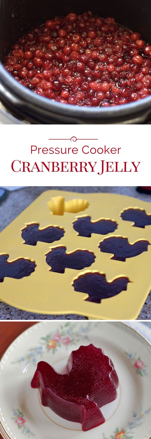 Cranberry Jelly is quick and easy to make in the pressure cooker. It's better tasting, and you can adjust the sweetness to your liking.