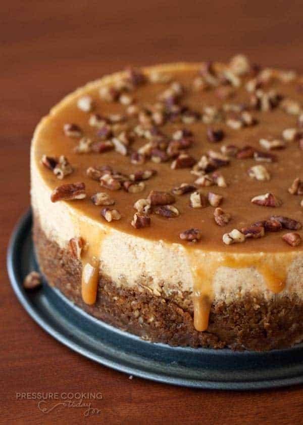 Pressure Cooker (Instant Pot) Pumpkin Caramel Pecan Cheesecake