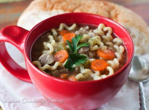 Pressure Cooker (Instant Pot)Turkey Noodle Soup in a red bowl