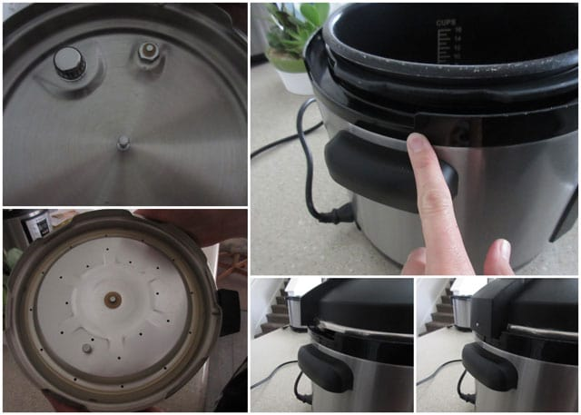 collage showing the placing the lid onto an electric Cuisinart Pressure Cooker