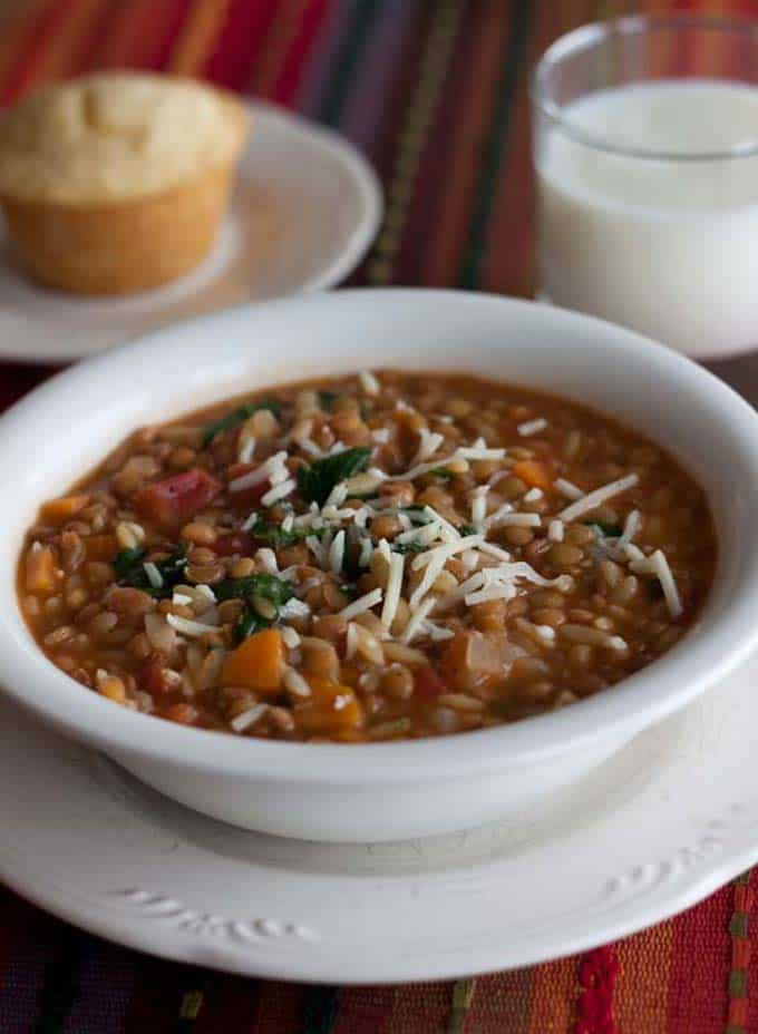 Pressure Cooker (Instant Pot) Lentil Orzo Soup in a white bowl