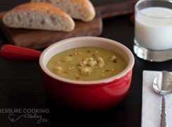 Pressure Cooker (Instant Pot) Split Pea Soup with Chicken Sausage in a red bowl