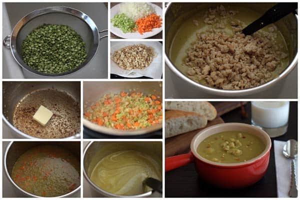 collage of making Split Pea Soup with Chicken Sausage