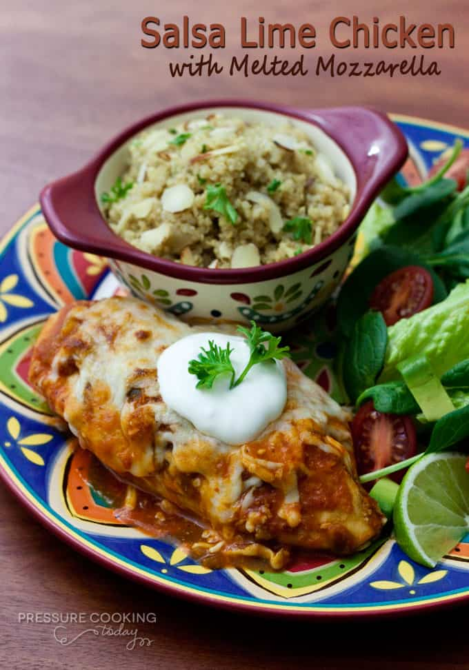 Salsa Lime Chicken with Melted Mozzarella - Chicken breasts braised in a spicy salsa lime sauce topped with mozzarella and broiled until the cheese is browned and hot and gooey.