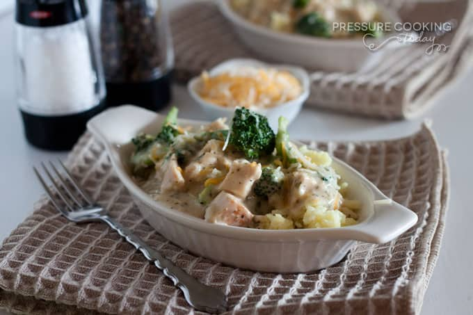 Pressure Cooker (Instant Pot) Creamy Chicken and Broccoli over Rice