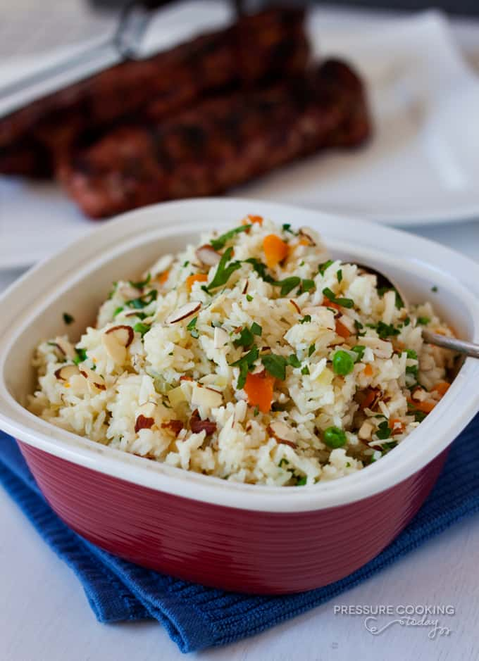 Rice Pilaf with Carrots, Peas and Parsley from Pressure Cooking Today