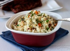 Easy to make Pressure Cooker Rice Pilaf with Carrots, Peas and Parsley