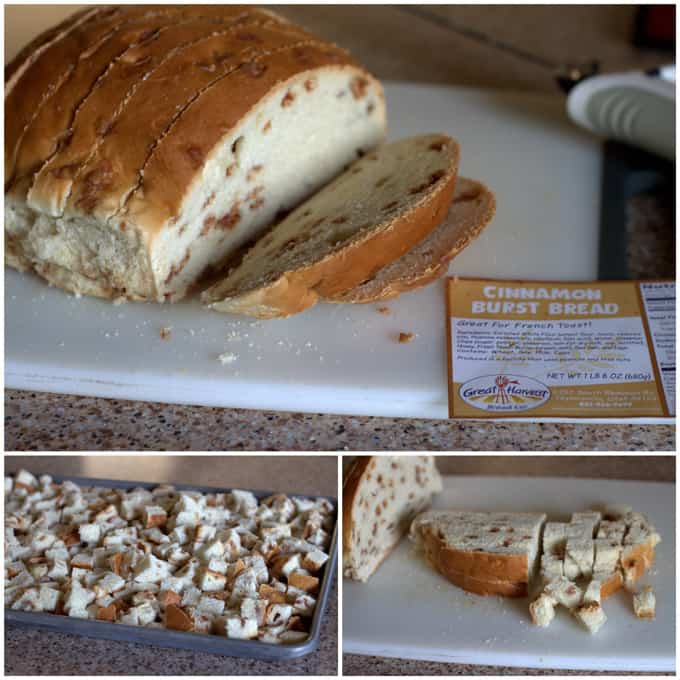 collage of Cinnamon Burst Bread for Bread Pudding