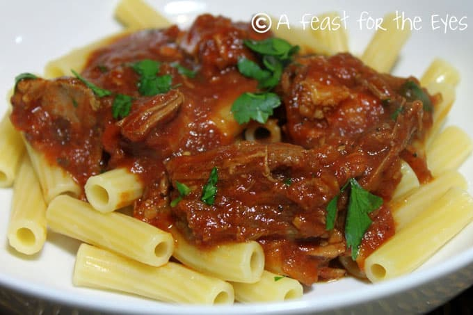 Pressure Cooker (Instant Pot) Pork Ragu Pasta Sauce with pasta on a white plate