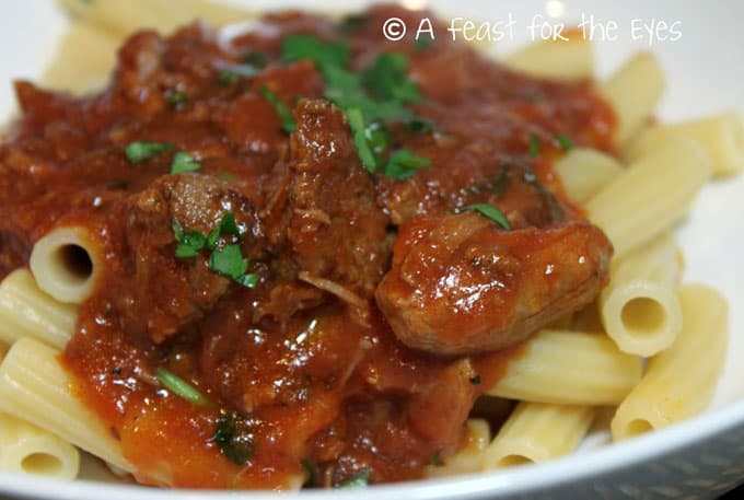 close up of Pork Ragu Pasta Sauce