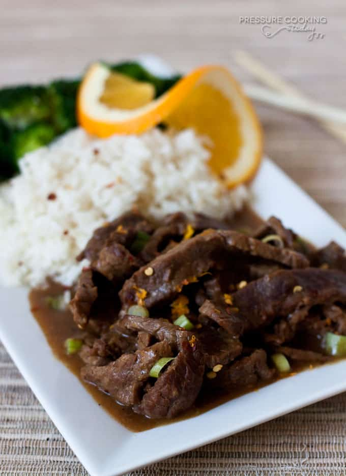 Pressure Cooker Spicy Orange Beef from Pressure Cooking Today