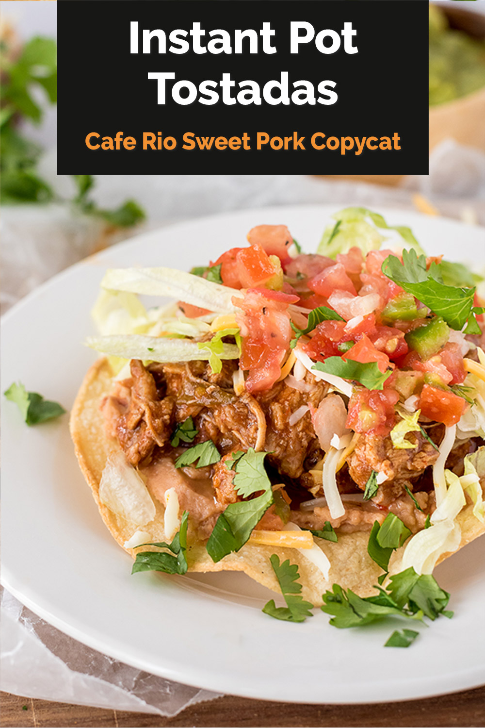 You can use this copycat Café Rio sweet pork recipe to make amazing tostadas, burritos, or salads in your Instant Pot. #pressurecookingtoday via @PressureCook2da