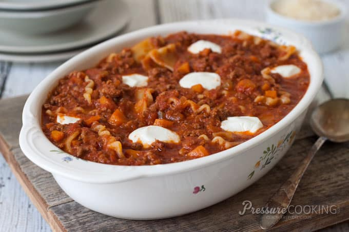 Pressure Cooker (Instant Pot) Sloppy Lasagna Recipe in a white baking dish