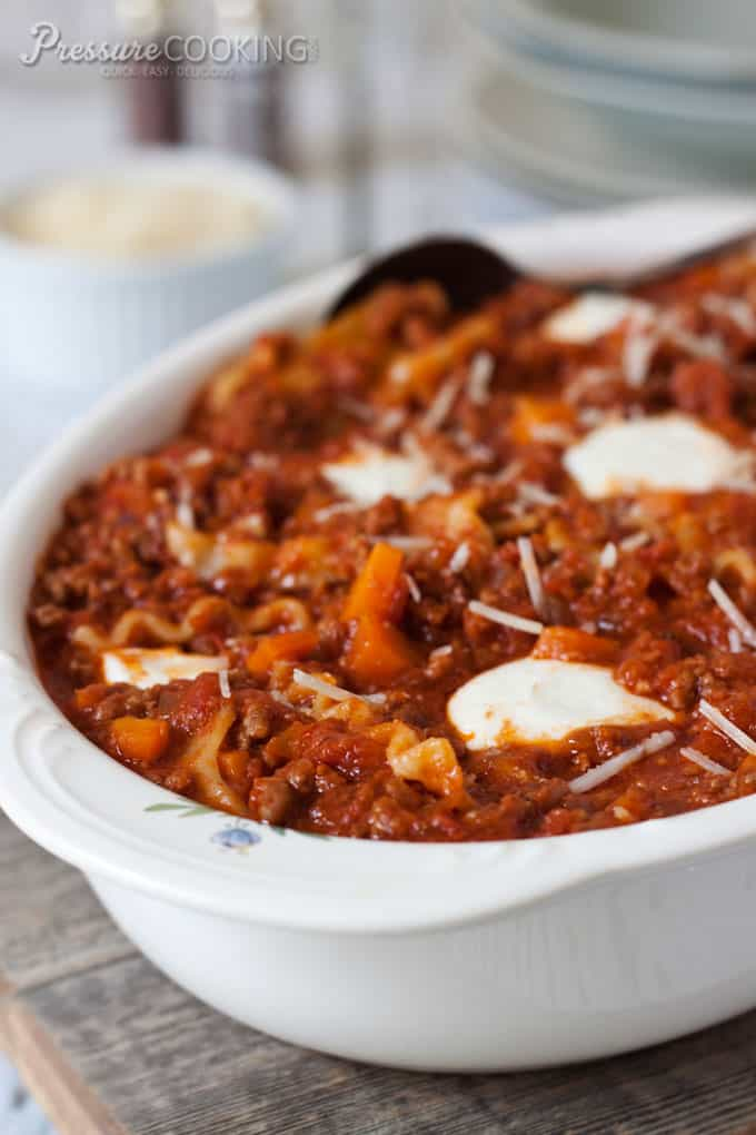 Sloppy Lasagna - a one pot lasagna casserole made in the pressure cooker - Pressure Cooking Today