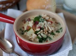 Pressure Cooker (Instant Pot) Zuppa Toscana in a red bowl