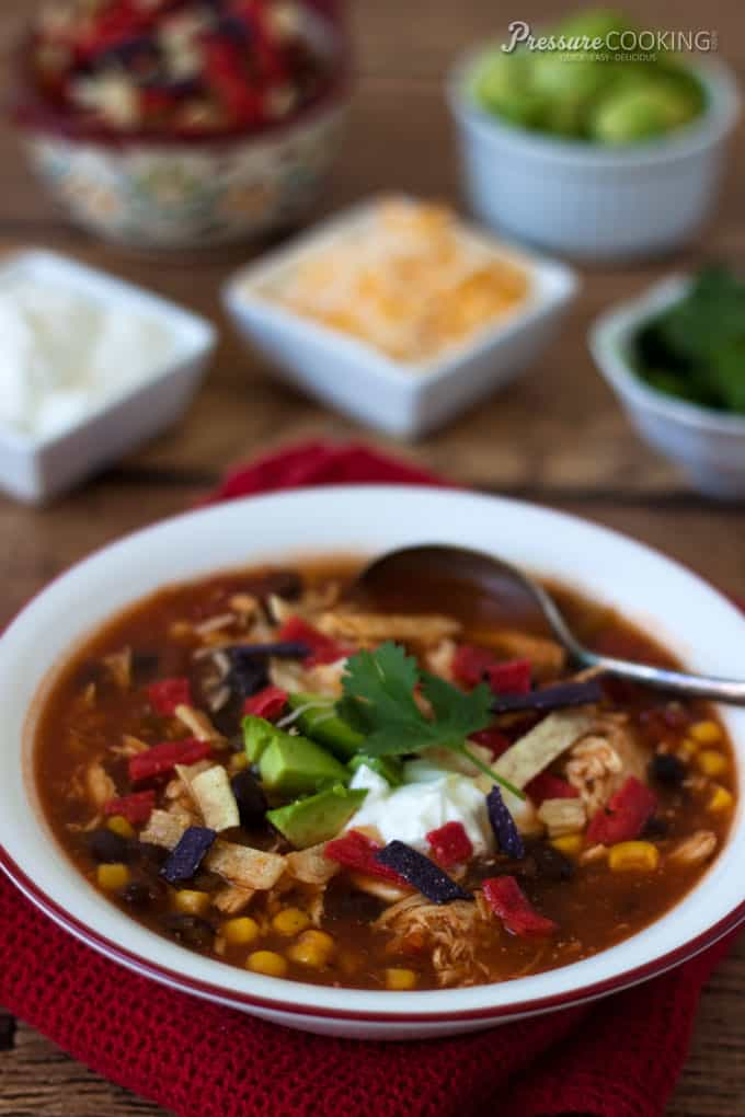Quick and Easy Pressure Cooker Chicken Enchilada Soup from Pressure Cooking Today