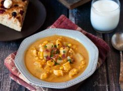 Pressure Cooker (Instant Pot) Pumpkin Chicken Corn Chowder served in a white bowl