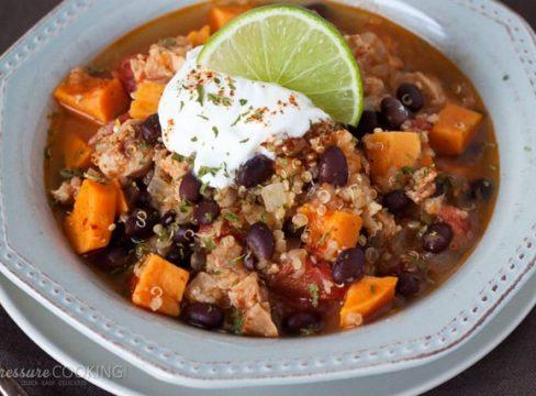 Pressure Cooker (Instant Pot) Black Bean Sweet Potato Quinoa Chicken Chili