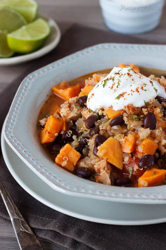 close up of Black Bean Sweet Potato Quinoa Chicken Chili pressure cooker recipe from Pressure Cooking Today