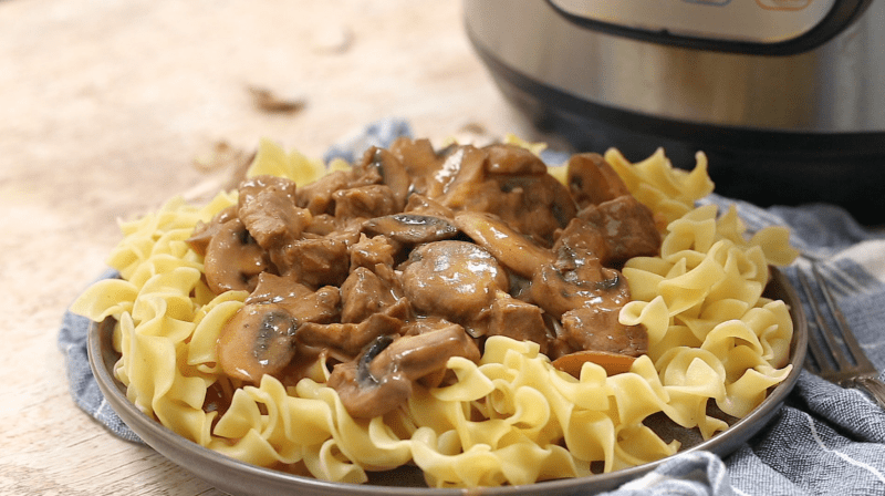 Pressure cooker beef stroganoff recipe from Pressure Cooking Today.