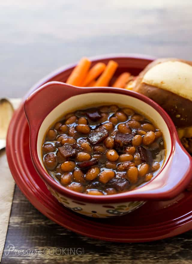 (Instant Pot/Pressure Cooker baked beans in a sweet, smokey, sticky sauce are the perfect side dish for whatever you\'re grilling this summer.