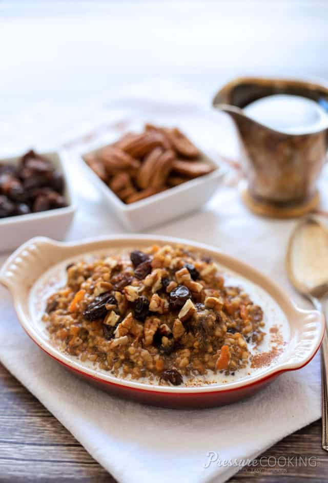 Pressure Cooker Carrot Cake Oatmeal - The flavors of a carrot cake in a warm, hearty, heart-healthy, fun breakfast.