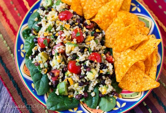 Pressure Cooker (Instant Pot) Spicy Brown Rice Black Bean Salad