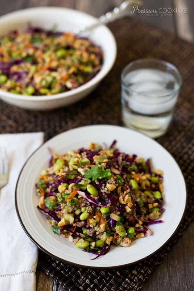 This Thai Quinoa Edamame Salad is loaded with fresh vegetables and dressed with a delicious Thai lime vinaigrette.
