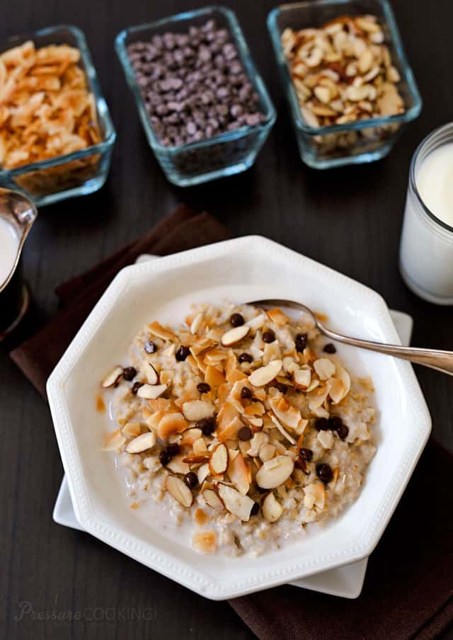 Start your day with a little chocolate! This heart-healthy, creamy, delicious Pressure Cooker Almond Joy Steel Cut Oats recipe is quick and easy to prepare. It\'s topped with sliced almonds, toasted coconut and mini chocolate chips.