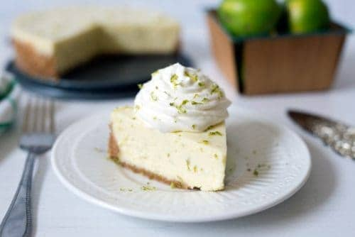 Pressure Cooker Key Lime Pie on a white plate.