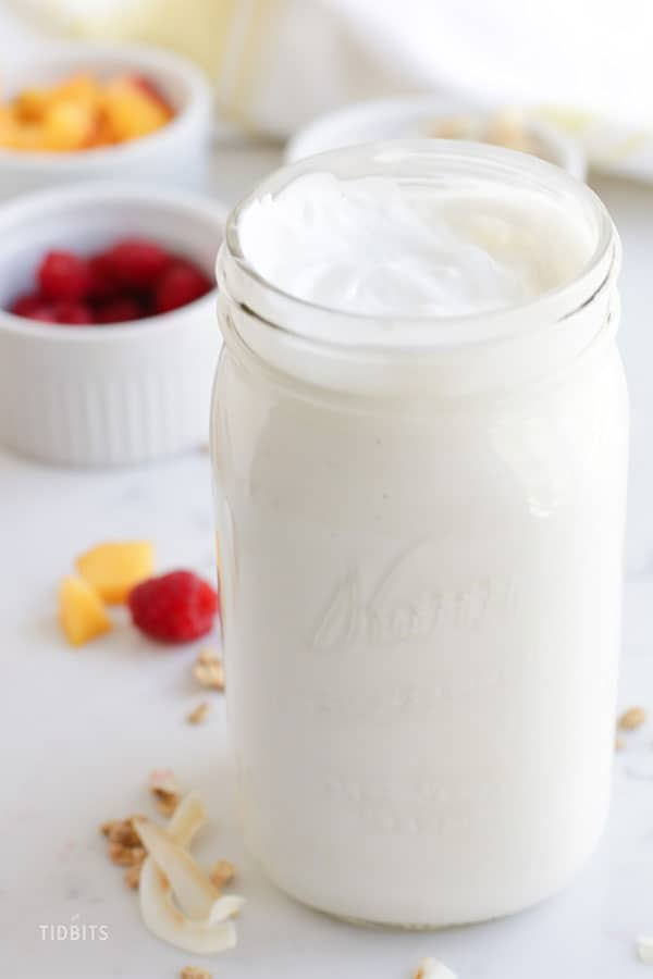 Pressure cooker yogurt recipe in a jar, made in an Instant Pot