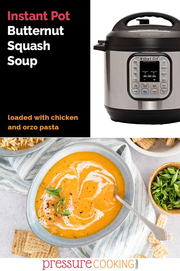 This Instant Pot Butternut Squash Soup is a filling, hearty meal. Loaded with chicken and orzo pasta, you'll want this creamy, delicious recipe you'll want on your table. PLUS, since it starts with cooked chicken and orzo, it's the PERFECT make-ahead meal. via @PressureCook2da