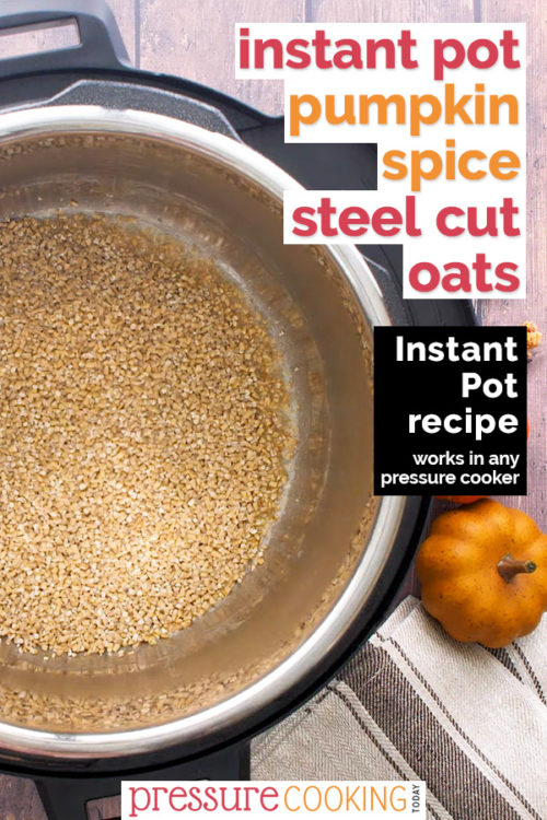 Pinterest image for Instant Pot Pumpkin Steel Cut Oats recipe; background photo of oats browning in the pressure cooker