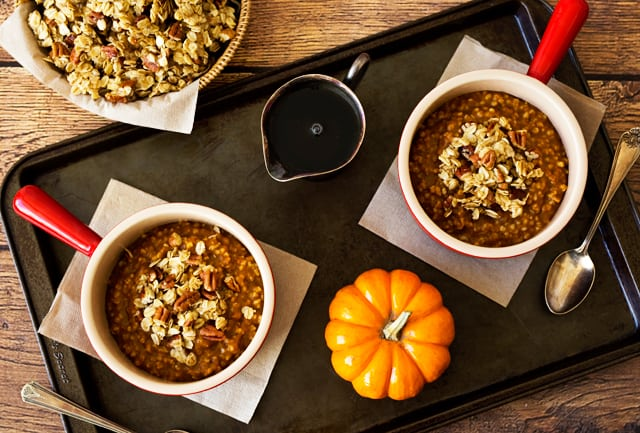 Pumpkin-Steel-Cut-Oats in two bowls