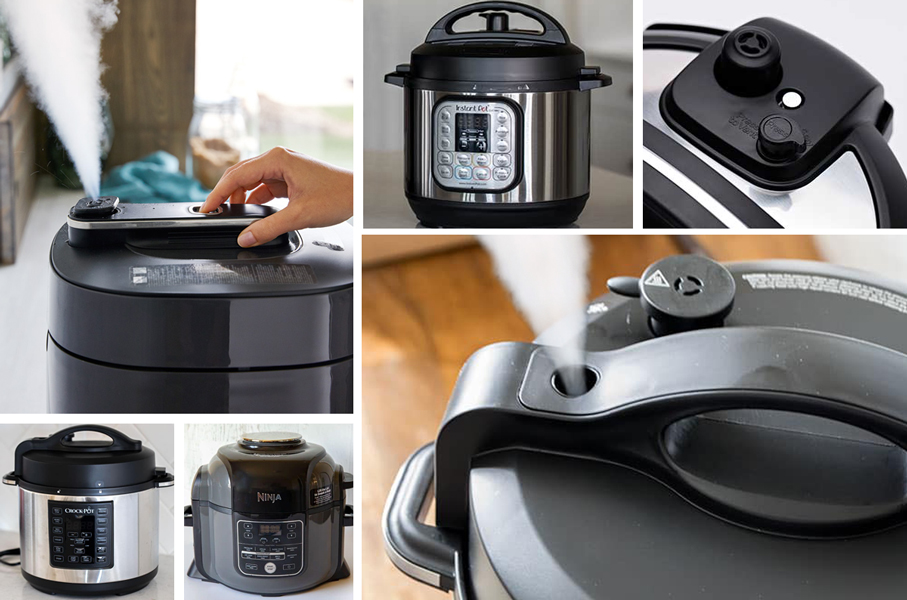 collage of pictures showing Quick Pressure Release and Natural Pressure Release for the Instant Pot Ninja Foodi and Electric Pressure Cooker
