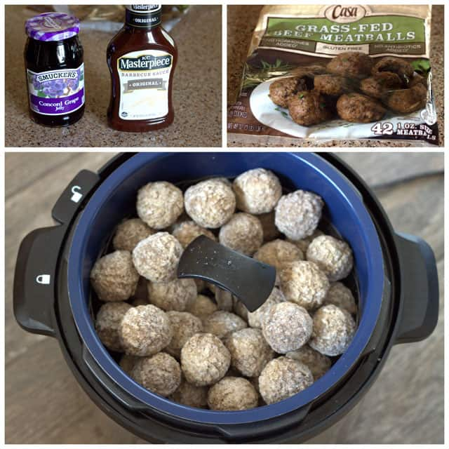 A collage including smuckers grape jelly, KC Materpiece BBQ sause, frozen beef meat balls, and meat balls in an Instant Pot.