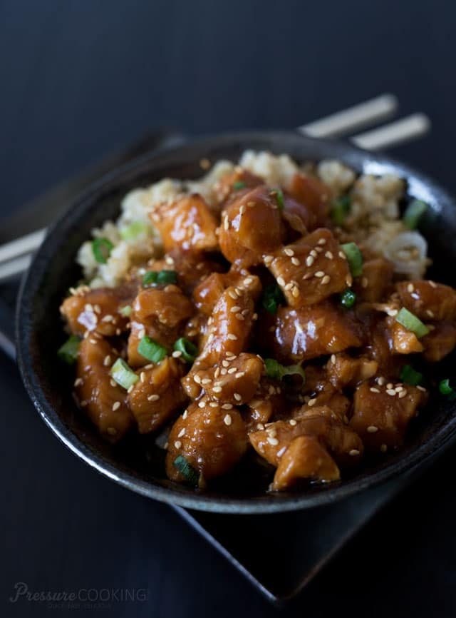 Pressure Cooker Honey Sesame Chicken - Tender bite size chunks of chicken in a sweet, sticky sauce. A quick, easy to make meal that the whole family will love.