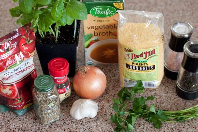 Sun-Dried Tomato Herbed Polenta Ingredients